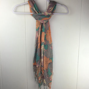 ~ 3 for $25 ~ Floral Loose Weave Mint Coral Scarf